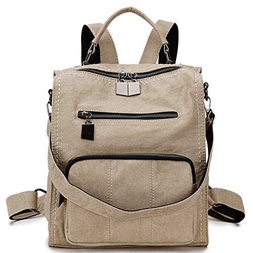 Mini Backpack Purse,RAVUO Women Faux Leather Shoulder Bag Fashion Bag Three Ways to Carry Beige