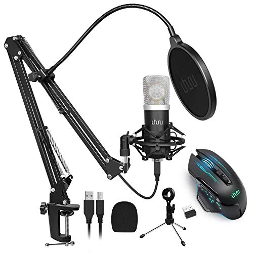 UHURU UM925 USB Microphone Kit with Wireless Gaming Mouse WM-07 Bundle for Podcast, Gaming, Streaming, Recording, Vocal
