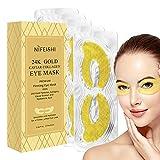 24K Gold Eye Treatment Masks - Under Eye Patches, Dark Circles Under Eye Treatment, Under Eye Bags Treatment, Eye Mask for Puffy Eyes, Anti-Wrinkle, Undereye Dark Circles, Gel Pads 10 Pairs