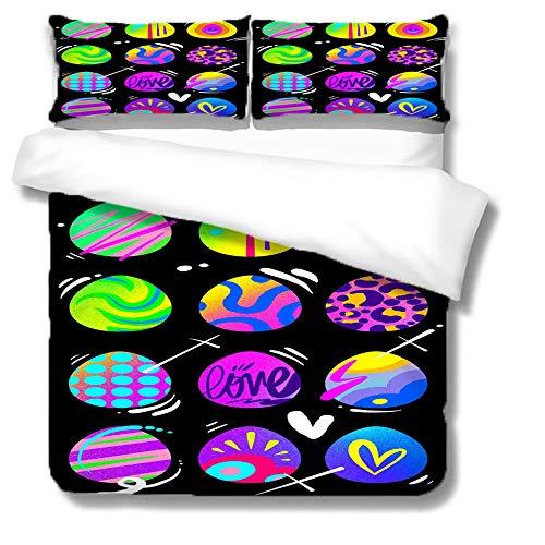 Juego de Cama 3D Juego de Funda nórdica para Cama Extragrande 240x260cm Globos de coloresmicrofibra niños Adultos con diseño Funda nórdica de con 2 Fundas de Almohada (50x90cm)