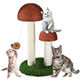 Sunnyholiday 19 Inches Tall Mushroom Cat Scratching Post with 2 Durable Natural Sisal Cat Scratchers Featuring and Interactive Dangling Ball, Small Cat Tree House Furniture Toys Training Toys Kittens