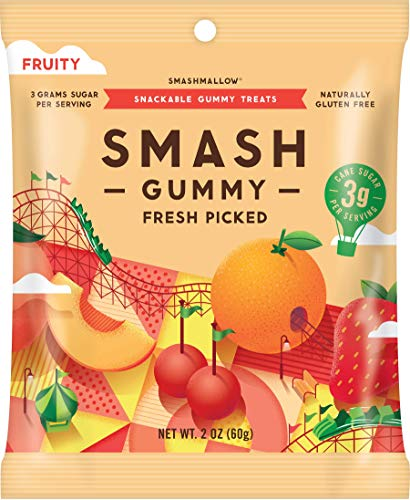 Fresh Picked Fruity Gummies by SMASHMALLOW | Low Sugar |60 Calories| No Sugar Alcohols, Carrageenan, IMO's, Stevia | Non-GMO | Gluten Free | 2.1 Ounce, 1 Pack