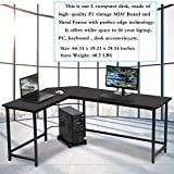 Computer Desk Modern L Shaped Desk, L Corner Desk Gaming Desk PC Laptop Study Wood Table Workstation,Home Office Save Space Study Writing Table with CPU Stand and 15mm MDF,66 Inch,Wood & Metal (Black)