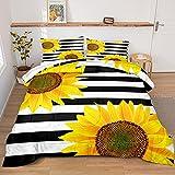Merryword Stripes Sunflowers Comforter White Black Comforter Set White Black Stripes and Yellow Sunflowers Printed Down Comforter Queen 1 Comforter 2 Pillowcases (Queen, Stripes Sunflower)