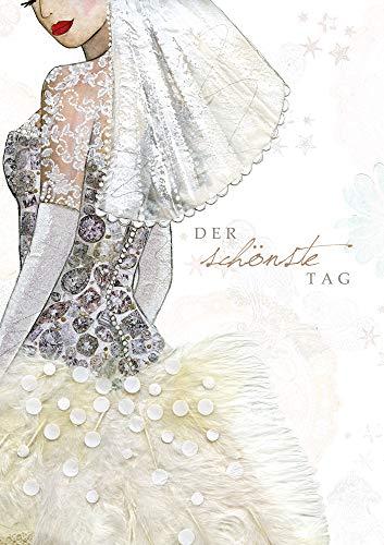 PopShots Studios Hochzeit Karte Swarovski Elements Grußkarte Brautkleid 17x12cm