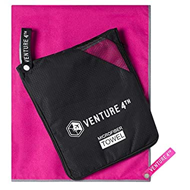 VENTURE 4TH Quick Dry Microfiber Towel - Odor Resistant, High Performance Towels for Gym, Camping, Travel, Yoga and Beach (Pink-Gray Large) - Includes Tear Resistant Bag