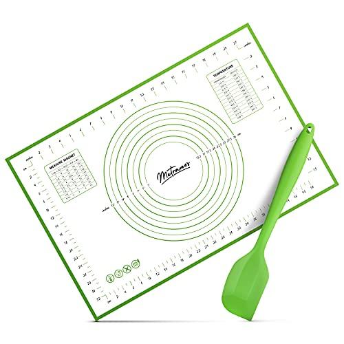 Metranos® Premium Silikon Backmatte (60x40cm) - Mit einzigartiger Glasfaserbeschichtung - rutschfeste Backunterlage - Wiederverwendbare Teigmatte - 100{4dadc154efa2841dfc0f998cf76076c339e95258d5633ebb55bb174571323eb7} BPA Frei - Knetunterlage - Backmatte Silikon