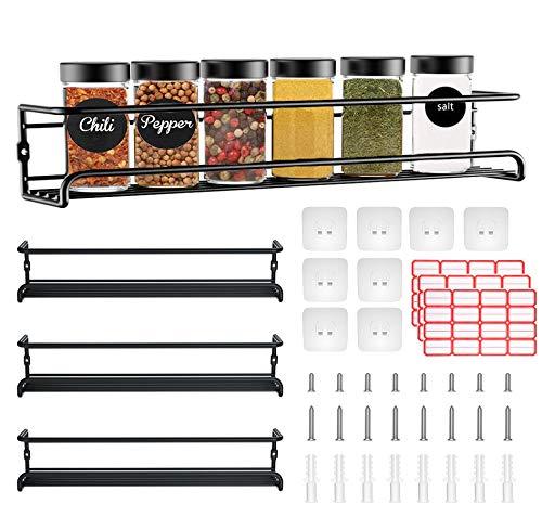 4 Stück Gewürzregal Set Küchenregal Wand Gewürzregale aus Metall Selbstklebend ohne Bohren perfekt für 24 Gewürzgläser, Größe 29 x 6.35 x 6 cm, Schwarz