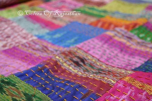 Twin Kantha Kantha Rallies Indian Sari Quilt Size 60 X 90 by Colors Of Rajasthan Size 60 X 90 by Colors Of Rajasthan MONIKA ENTERPRISES CECOMINOD071671 CORs Twin Size Patola Silk Patch Work Kantha Quilt Patch Kantha Throw Kantha Blanket Bedspread