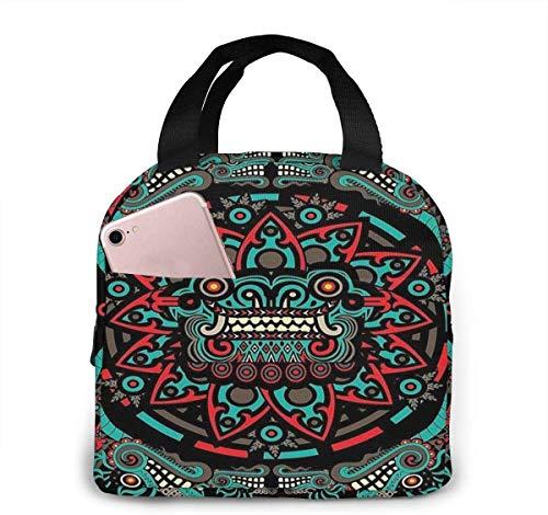 Bolsa de almuerzo de moda con arte tribal nativo americano azteca, bolsa térmica aislada resistente al agua con bolsillo para oficina / escuela / exterior, color negro, talla única