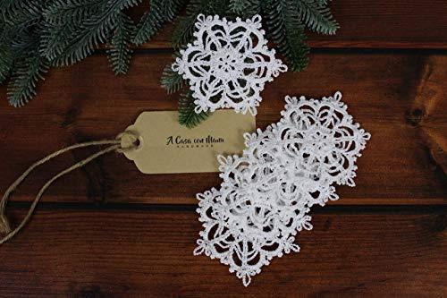 Crochet Ornamento Di Natale, Fiocchi Di Neve Da Appendere A Uncinetto, Set 5 Pezzi In Cotone Bianco.