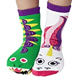 Kids Dragon & Unicorn Magical Fantasy Pals Collectible Mismatched Silly Cute Socks for Boys Girls No Slip Grippers (Ages 4-8)