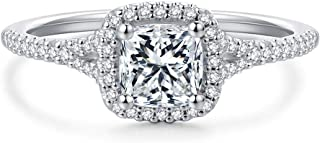 Hafeez Center 1 Carat Cushion Cut Simulated Diamond Cubic Zirconia Rhodium Plated Sterling Siver Engagement Rings for Women