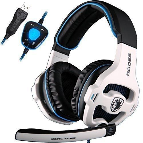 Sades SA903 USB 7.1 Surround Sound stereo Gaming Headset cuffie per pc con microfono, bassi profondi, Over The Ear di regolatore di volume luci LED (nero)