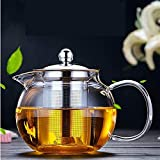 Transparent Glass Teapot, Glass Teapot with Removable Infuser, Stovetop Safe Kettle, Blooming and Loose Leaf Tea Maker Set, 650ml/22oz