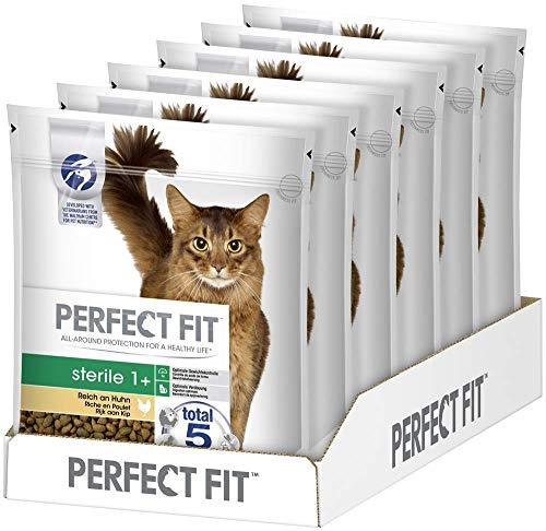 Perfect Fit Sterile 1+ – Trockenfutter für erwachsene, sensible Katzen ab 1 Jahr – Reich an Huhn – Unterstützt die Verdauung & Fitness – Kalorienarm – 6 x 750 g