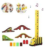 電気ドミノビルディングブロックトレイン、ドミノバンカー自動ディスペンサー3〜7歳の子供の教育モデルの構築と積み重ねゲーム (蜂)