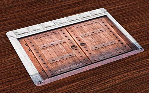 ABAKUHAUS Rustiek Placemat Set van 4, Antieke Franse houten deur, Wasbare Stoffen Placemat voor Eettafel, Brown and Cream
