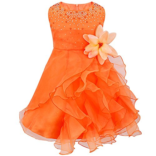 FEESHOW Baby Girls Rhinestone Organza Flower Christening Baptism Party Dress Orange 9-12 Months