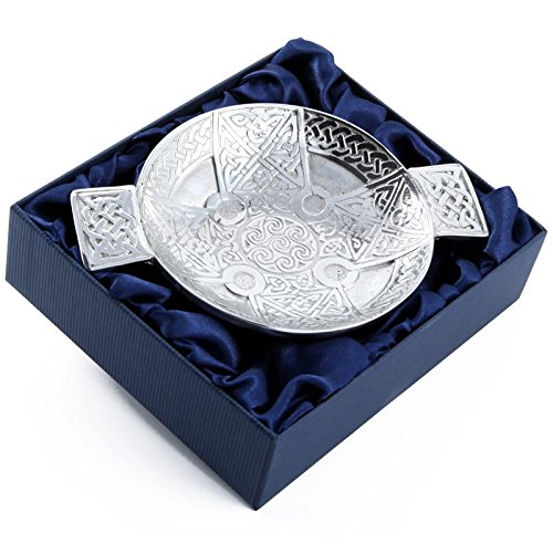 Scottish Pewter Celtic Cross and Eternal Life Knot Design Traditional Toasting Quaich