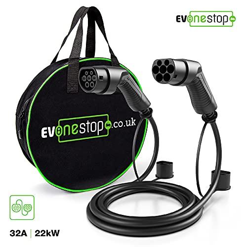 EV Cable de Carga - Tipo 2 a Tipo 2 - 32 A - 22 KW - 5 Metros - Funda de Transporte