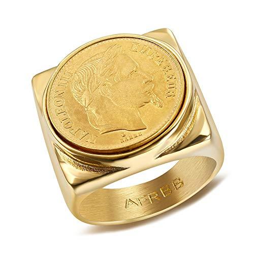 BOBIJOO Jewelry - Chevalière Bague Napoleon III Pièce 20 Francs Plaqué Acier Or Carré Plein Empereur Louis - 75 (15 US), Doré Or Fin - Acier Inoxydable 316