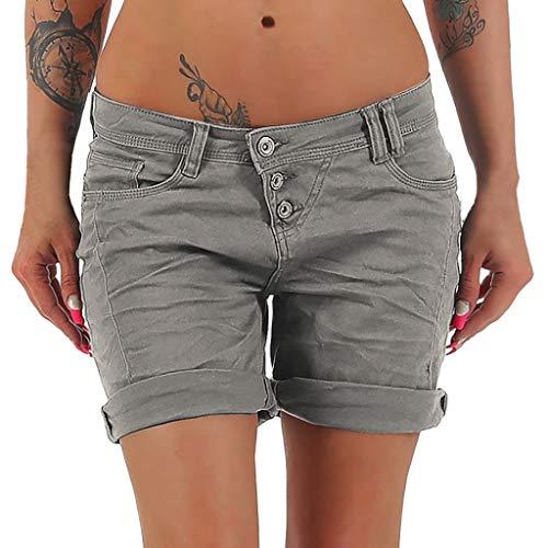 Damen Hosen Sommer Elegant LHWY Frauen Mode Kurze Hose Capri Hosen Beiläufige Chino Hosen Knielange Shorts Slim Sport Jeans (M, Dunkelgrau)