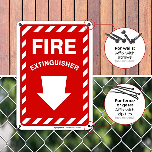 Fire Extinguisher Sign with Down Arrow 10x7 Rust Free Aluminum, Weather/Fade Resistant, Easy Mounting, Indoor/Outdoor Use, Made in USA by SIGO SIGNS