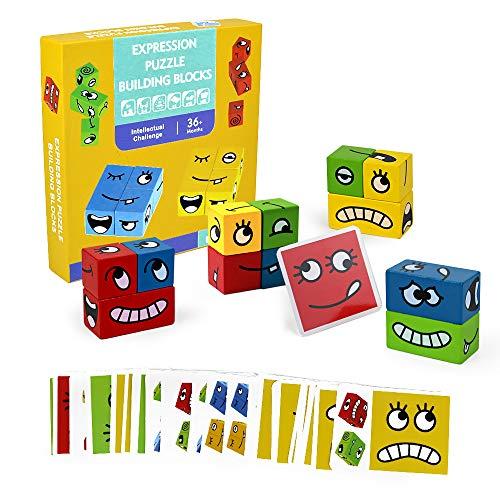 Symiu Juguetes Niños Bebes Educativos Juguetes de Madera Puzzle Madera Expresión De Madera Rompecabezas Set Juguetes Montessori Bebe para 3 4 5 Años