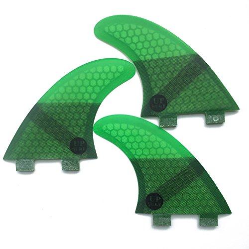 UPSURF Tabla de Surf FCS 3Aletas Fibra de Vidrio Aletas de Surf Tener Panal Thruster Set (Green G3)