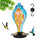 DGFFL Hummingbird Feeder, Hand-Blown Glass Hummingbird Feeder, 42oz Outdoor Hummingbird Feeder, Easy to Clean and Upgrade Leak-Proof Bird Feeder Set, 4 Feeding Stations Can Use for Backyard Decoration