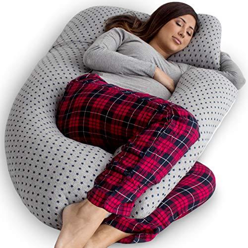 PharMeDoc - Almohada para embarazo, para cuerpo completo, en forma de U y soporte de maternidad con extensión desmontable, apoyo para espalda, caderas, piernas, vientre para mujeres embarazadas, Oferta especial de estrellas, Detachabl