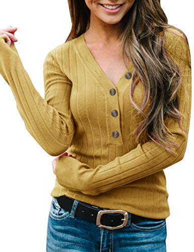 MEROKEETY Women's Long Sleeve V Neck Ribbed Button Knit Sweater Solid Color Tops Mustard