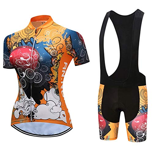 Women's Short Sleeve Breathable Cycling Jersey Set, Quick-Dry Biking Shirt with 19D Gel Bib Shorts Pants (Color : C, Size : S)