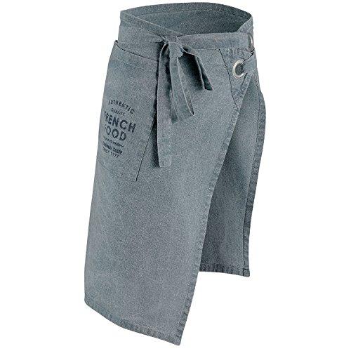 Winkler - Tablier de cuisine serveur > à poche – Tablier court lavable 100% coton lavé stonewashed – Lanières à nouer à la taille
