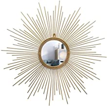 AI LI WEI Decoração diária de ferro forjado moderno em forma de sol, espelho decorativo para pendurar na parede, artesanat...