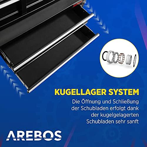 Arebos Werkstattwagen 9 Fächer/zentral abschließbar/Anti-Rutschbeschichtung/Räder mit Festellbremse/Massives Metall/rot oder schwarz (Schwarz) - 4