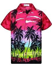 V.H.O. Funky Hawaiian Shirt Casual Men Front Pocket Button D