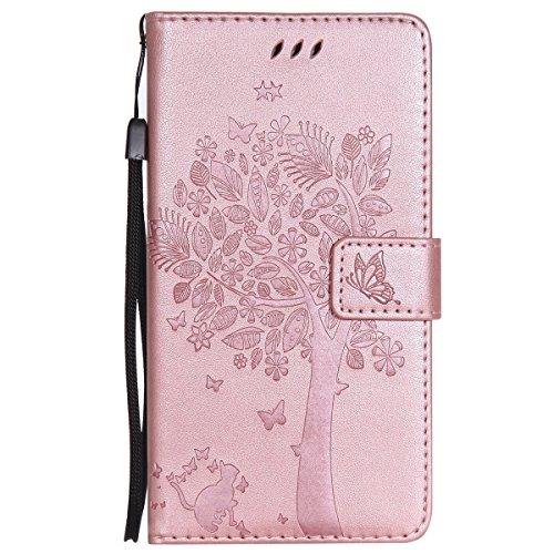 ISAKEN Compatibile con Samsung Galaxy Note 4 Custodia, Libro Flip Cover Portafoglio Wallet Case Albero Design in Pelle PU Protezione Caso con Supporto di Stand/Carte Slot/Chiusura - Rose Gold