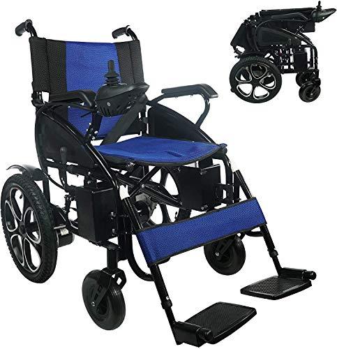 2021 Model Fold & Travel Lightweight Electric Wheelchair Motor Motorized Wheelchairs Power Wheel Chair Aviation Travel Safe Heavy Duty (Blue)