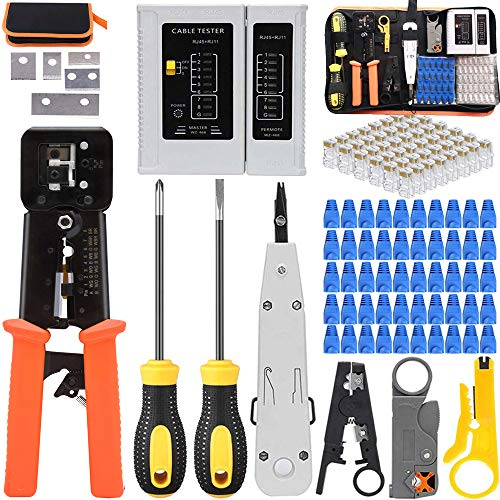 LEATBUY Network Crimp Tool Kit for RJ45/RJ11/RJ12/CAT5/CAT6/Cat5e Professional Crimping Wire Connector Stripper Cutter Computer Maintenance Lan Cable Pliers Tester Repair Tool SetYellow