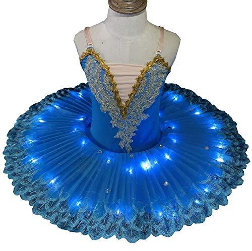 ZYLL Disfraces LED Lago de los cisnes Ballet del tut del Ballet del Traje de Bailarina de Las Muchachas del Vestido de los nios del Vestido de Partido de la Etapa Dancewear,Azul,110CM