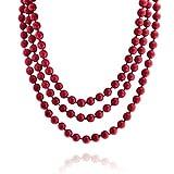 Bling Jewelry Rosso Infinite Stratificazione Filamento Lungo Boho Simulato di Moda Perle di Corallo Collana per Donne 69 Pollici