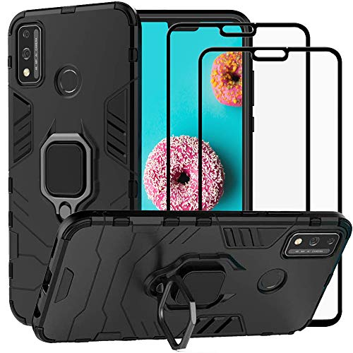 DuoLide for Huawei Honor 9X Lite Case, 2 in 1 Hybrid Heavy Duty Armor Shockproof Defender Kickstand Dual Layer Bumper Hard Back Case Cover Tempered Glass Screen Protector [2 Pack],Black