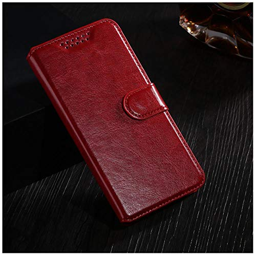 NUIOP Funda abatible for LG L Bello 2 II/Prime II MAX X155 X150 Bolsas de Cubierta Retro Cuero Cartera Funda Tarjeta Protectora Soporte teléfono Shell (Color : Red)
