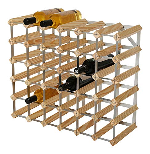 RTA 36 Botellas de Vino Tradicional - Kit de Estante de Madera de Pino Natural (FSC), 61,9 x 52,3 x 23,3 cm