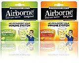 Airborne Immune Support Effervescent Value Pack Tablets, Lemon Lime & Zesty Orange Flavored- 1000mg Vitamin C With Echinacea, Ginger, Amino Acid Blend, Zinc, & Selenium, Gluten Free, 10 Count (1 each)