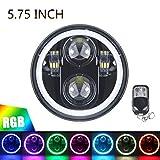 ROCCS 5.75' RGB HALO Headlight, LED Black Motorcycle 5 3/4'...
