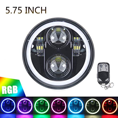 5.75' RGB HALO Headlight, ROCCS LED Black Motorcycle 5 3/4'...