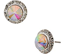 Topwholesalejewel Silver Plating Aurora Borealis 12mm Rhondelle Stud Earrings